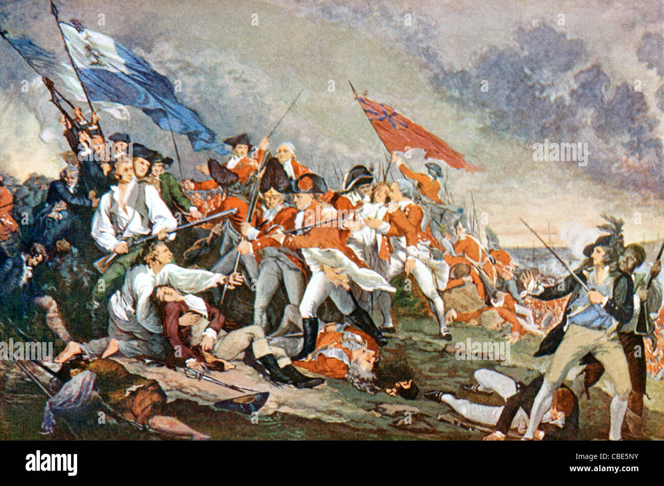 The Battle of Bunker Hill was fought on nearby Breed's Hill on June 17, 1775. General Warren  was killed. - Stock Image