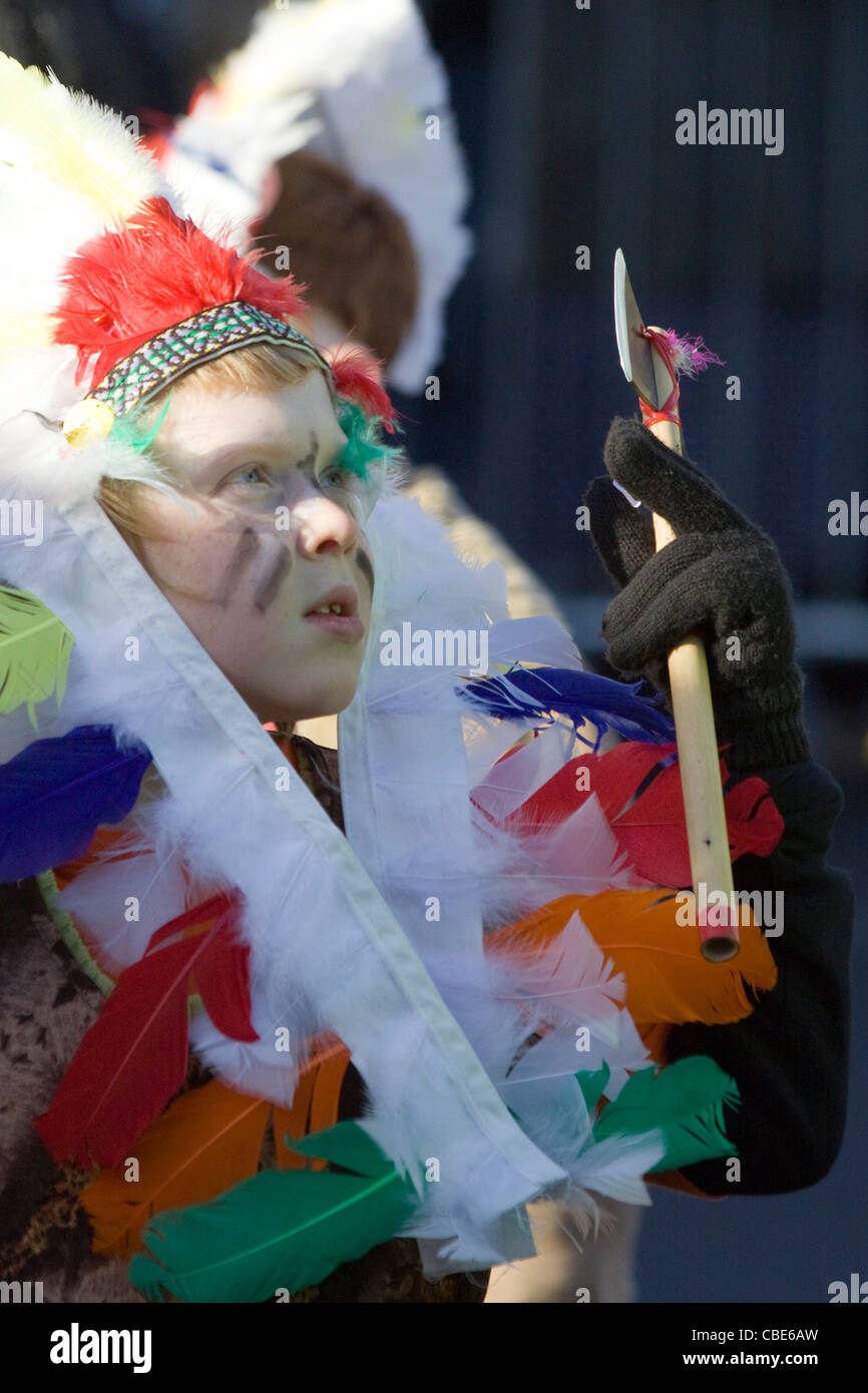 Child Dressed up as Chieftain for the Disney Christmas Parade in Buckingham - Stock Image