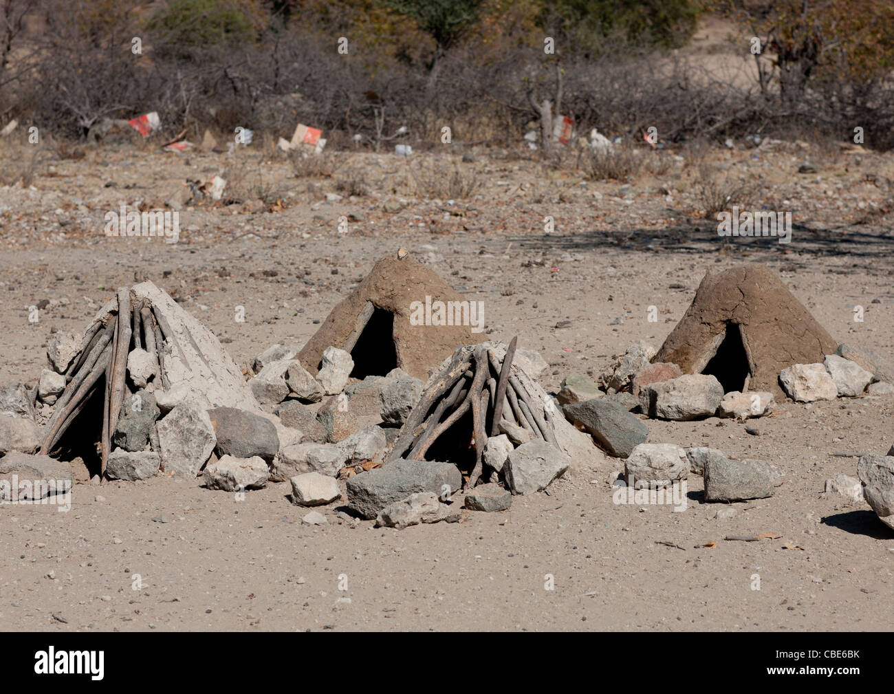 Muhimba Shelters For Chicken, Village Of Elola, Angola - Stock Image