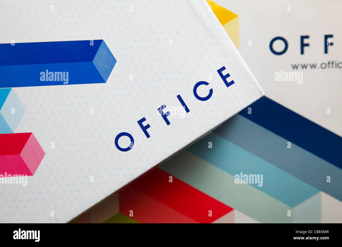 Office shoe shop packaging. - Stock Image