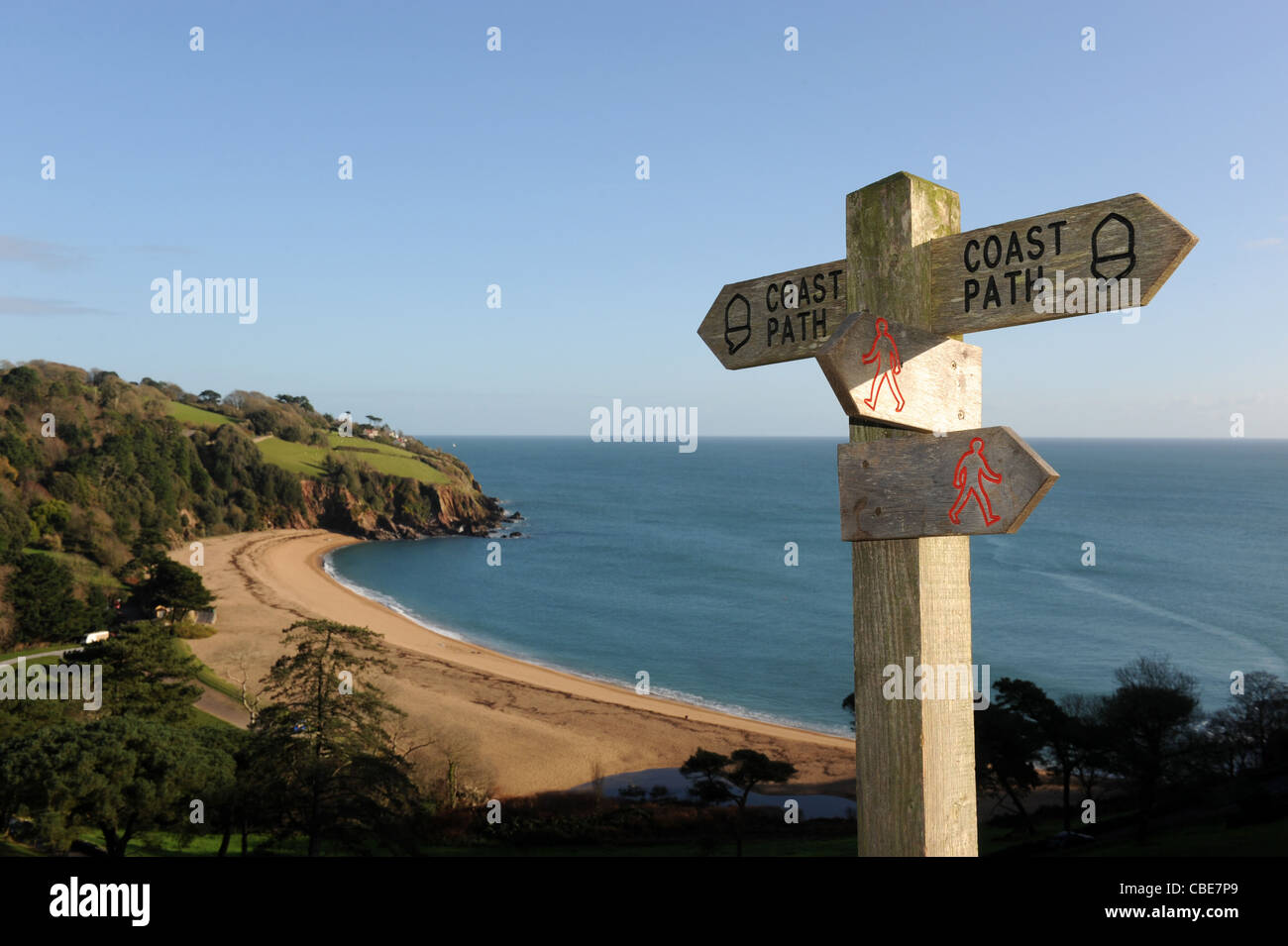 Coastal path sign above Blackpool Sands in Devon England Uk - Stock Image