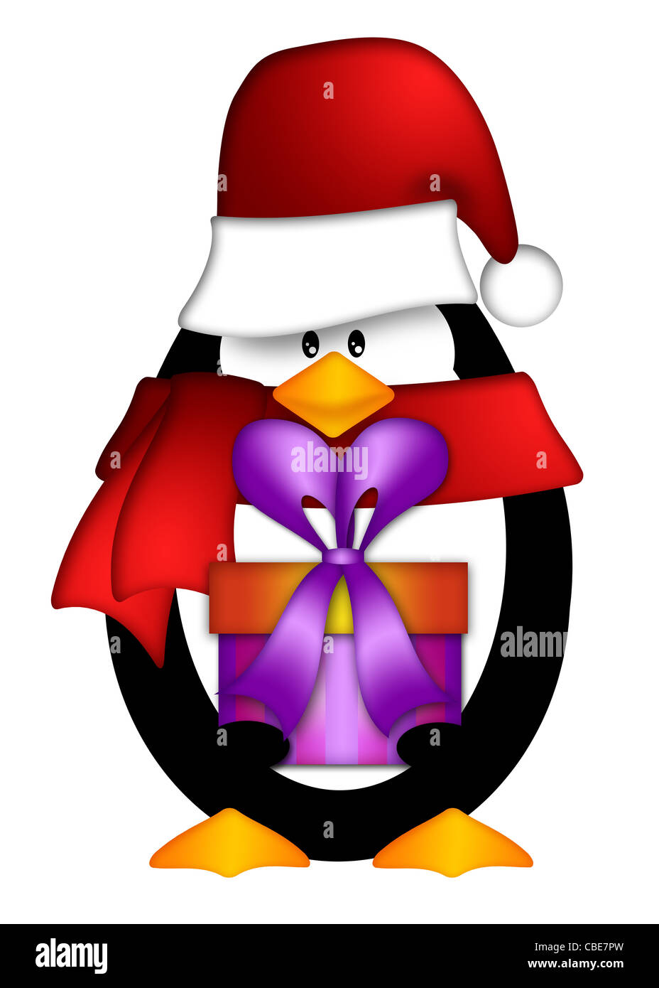 e7eb52efff2 Cute Cartoon Penguin with Santa Hat and Red Scarf Holding Wrapped Present  Illustration Isolated on White