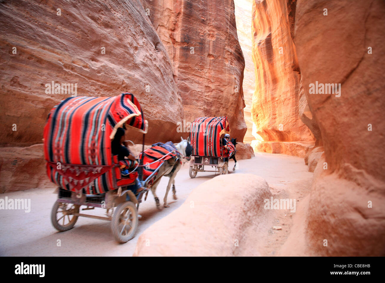 Tourists being transported by donkey karts in Petra Jordan - Stock Image