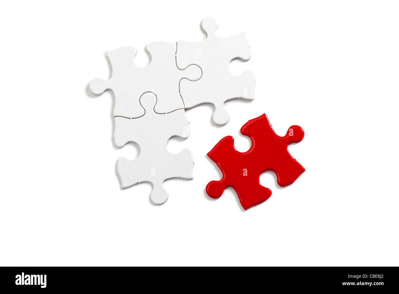 Red Puzzle, business concept of Solution - Stock Image