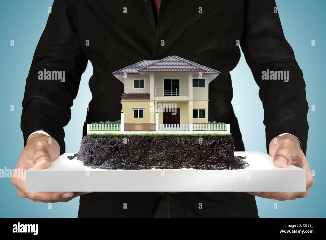 house on the tray.real estate concept - Stock Image