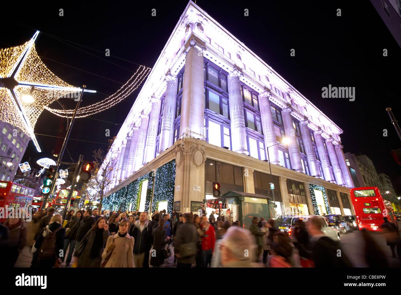 selfridges department store on oxford street christmas shopping london england united kingdom uk - Stock Image