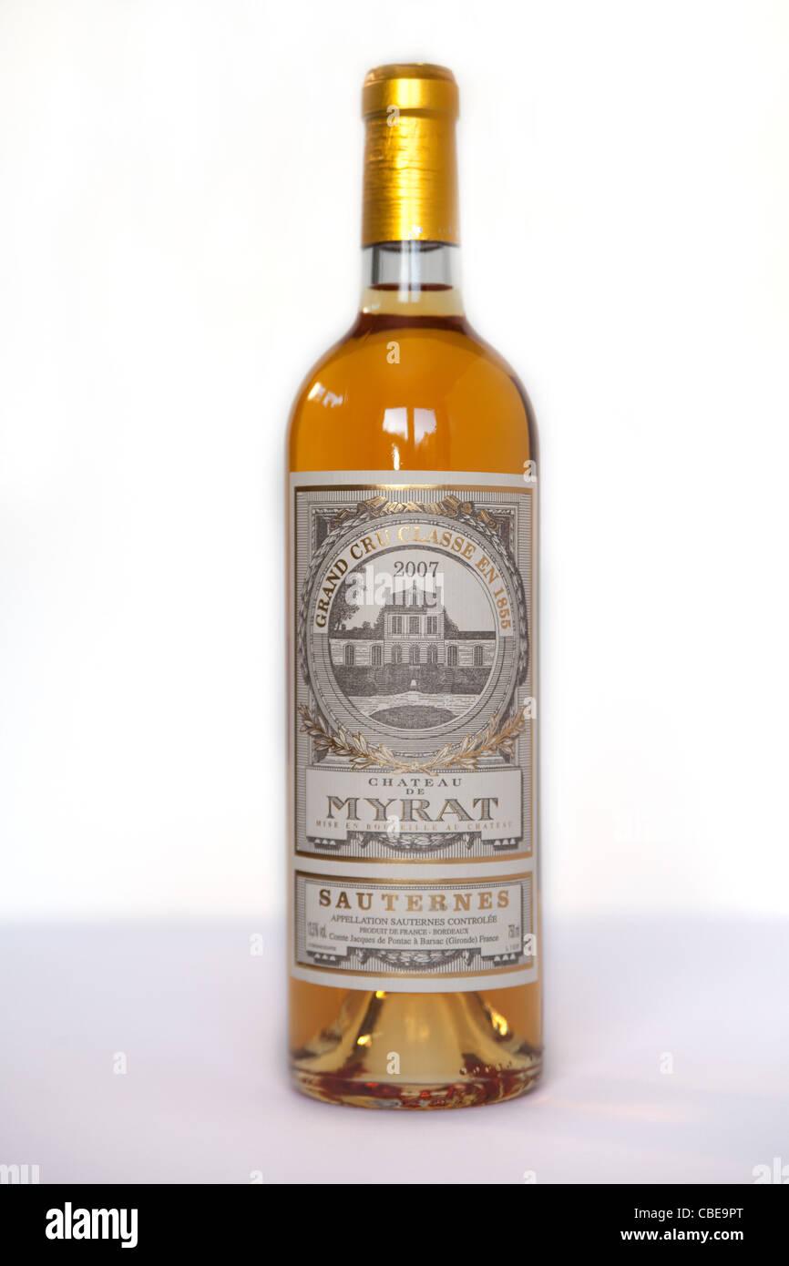 A Bottle Of Chateau De Myrat Sauternes Wine From France