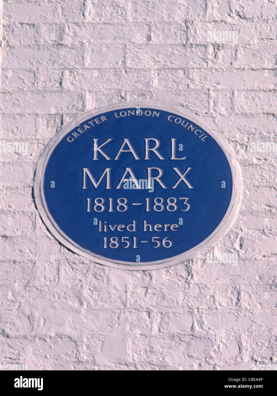 Blue Plaque, Karl Marx, Dean Street, Soho, London, England UK English plaques Greater London Council - Stock Image