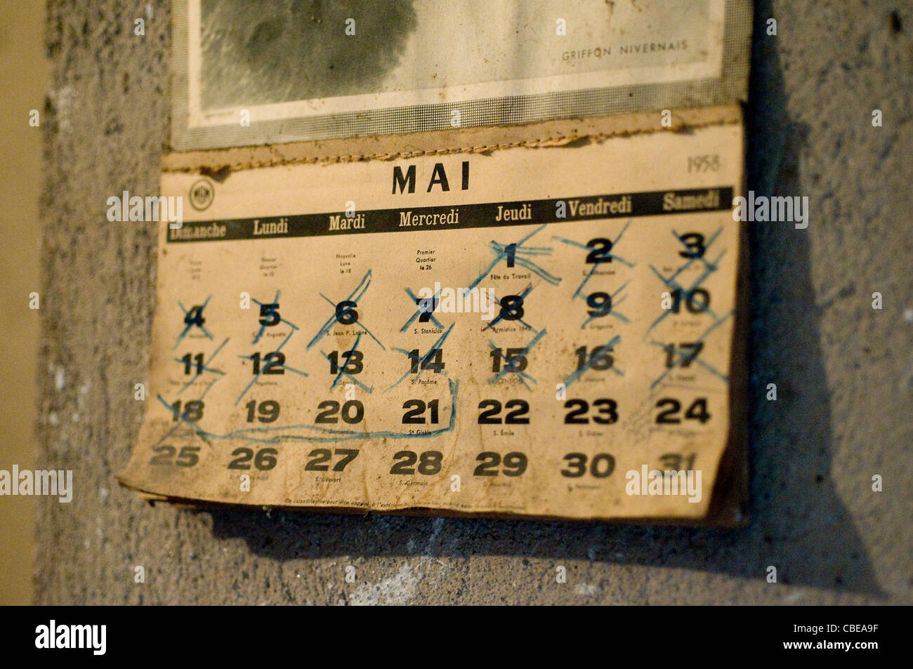 Calendario 1958.French Calendar From 1958 Hanging On Wall Of House In Southern