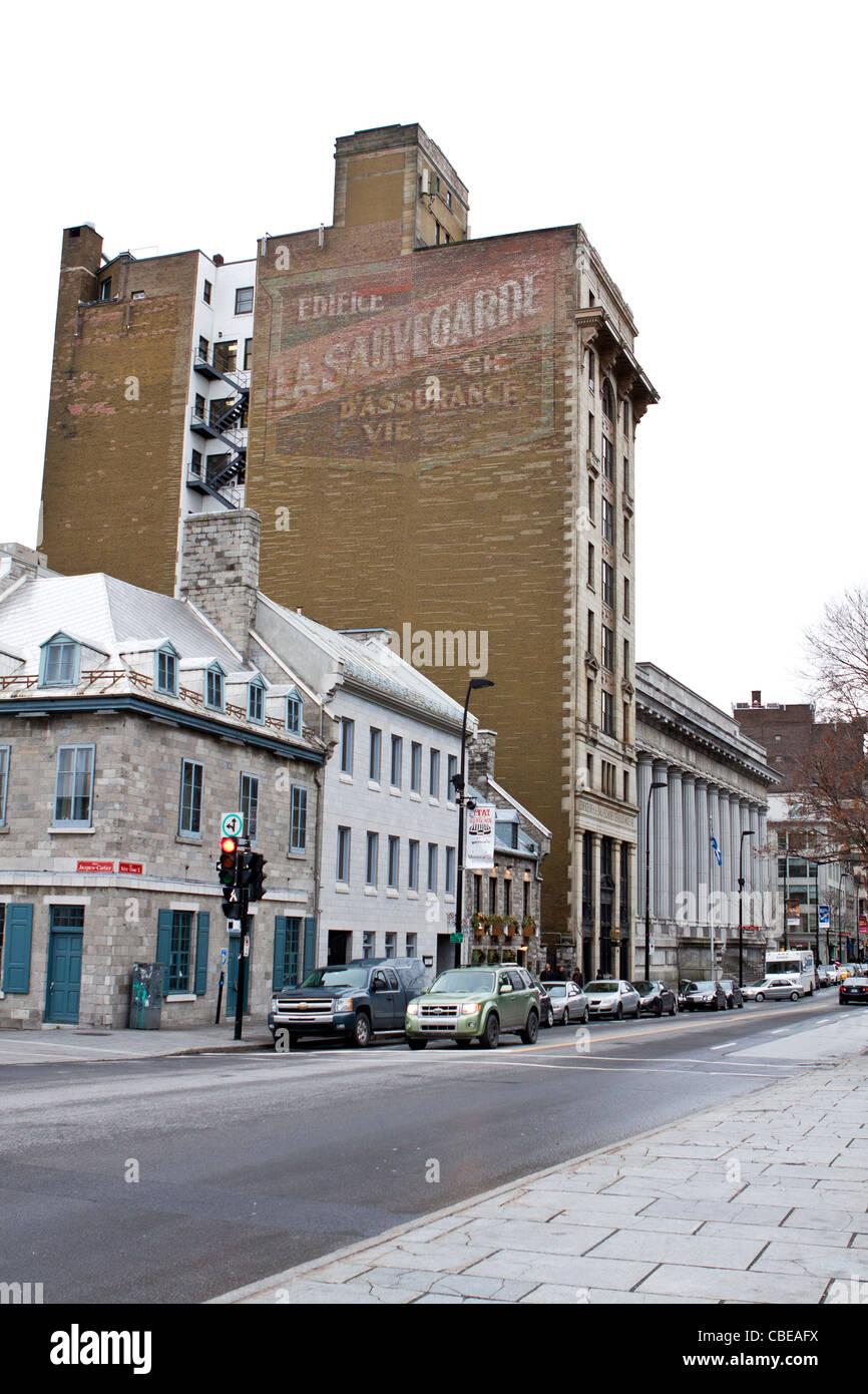 Édifice La Sauvegarde  Montreal, Quebec province, Canada.Neo-gothic architectural style. - Stock Image