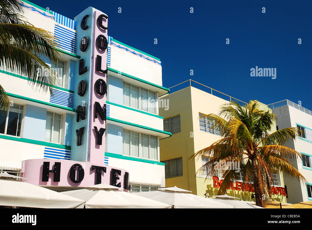 The Colony Hotel has become a symbol of the Art Deco revival in South Beach, Miami. - Stock Image