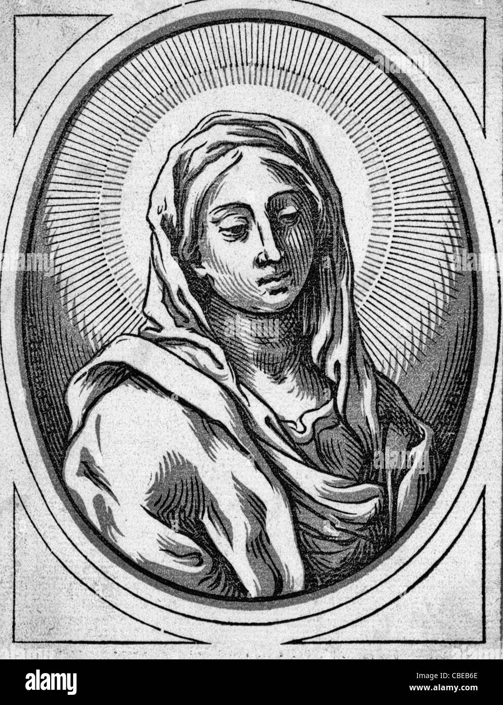 Head of the Virgin - woodcut of the head of the Virgin Mary - Stock Image