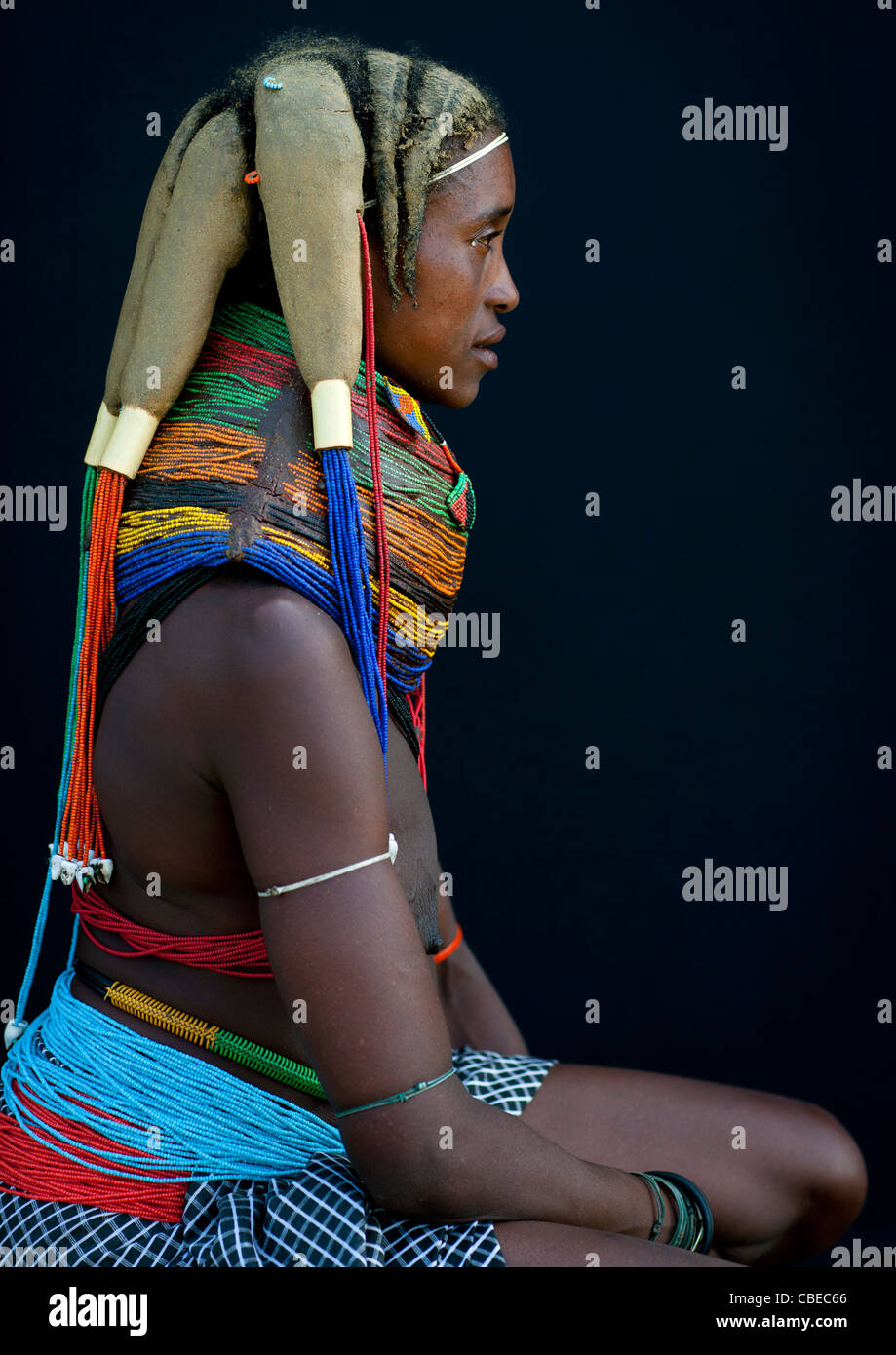Mwila Woman Wearing The Vilanda Necklace, Chibia Area, Angola - Stock Image