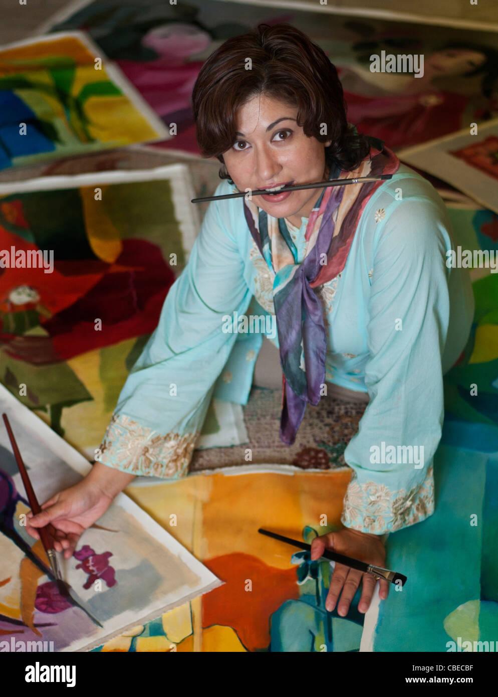 Artist at work - Stock Image