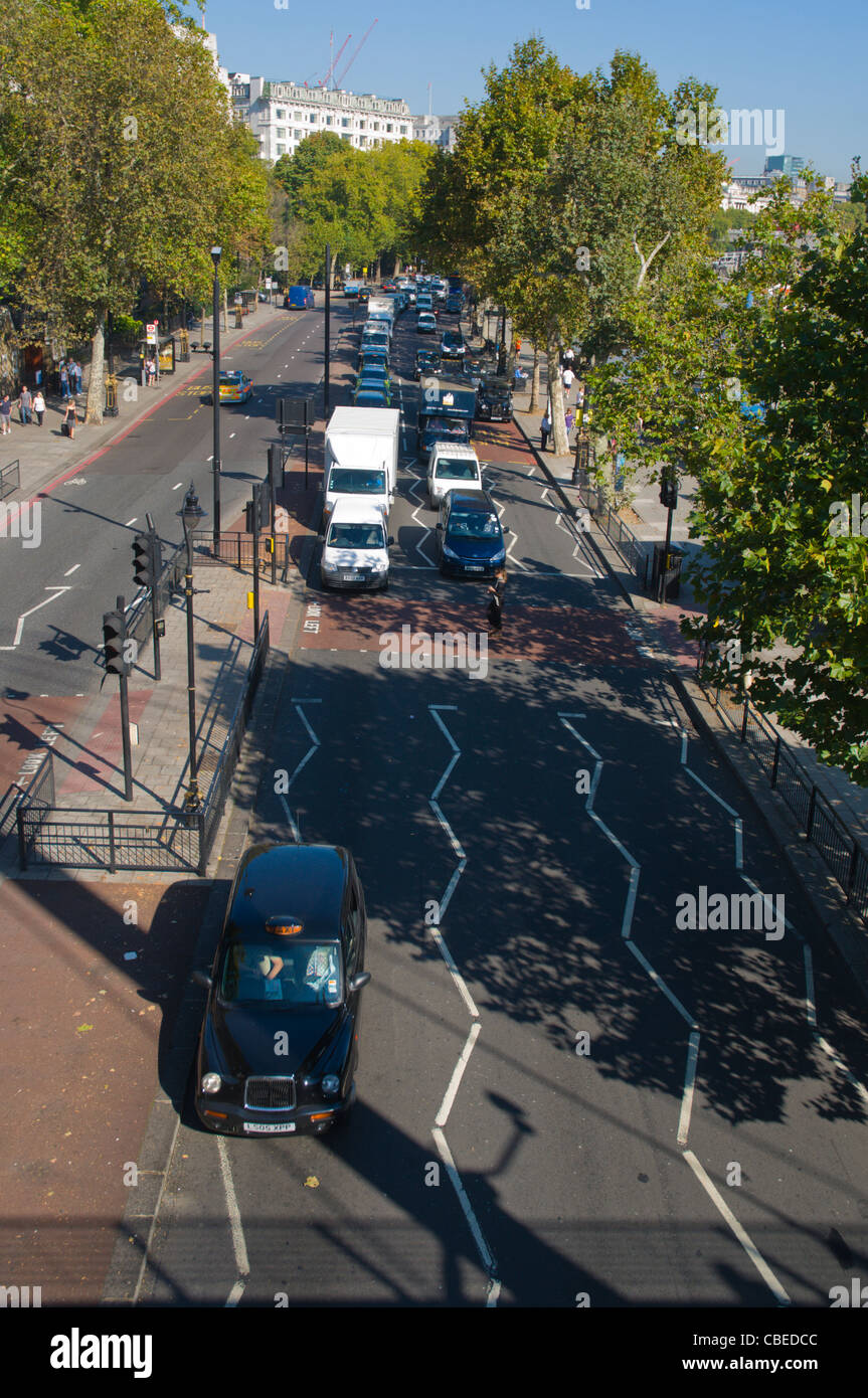 Traffic on Victoria Embankment street Westminster central London England UK Europe - Stock Image