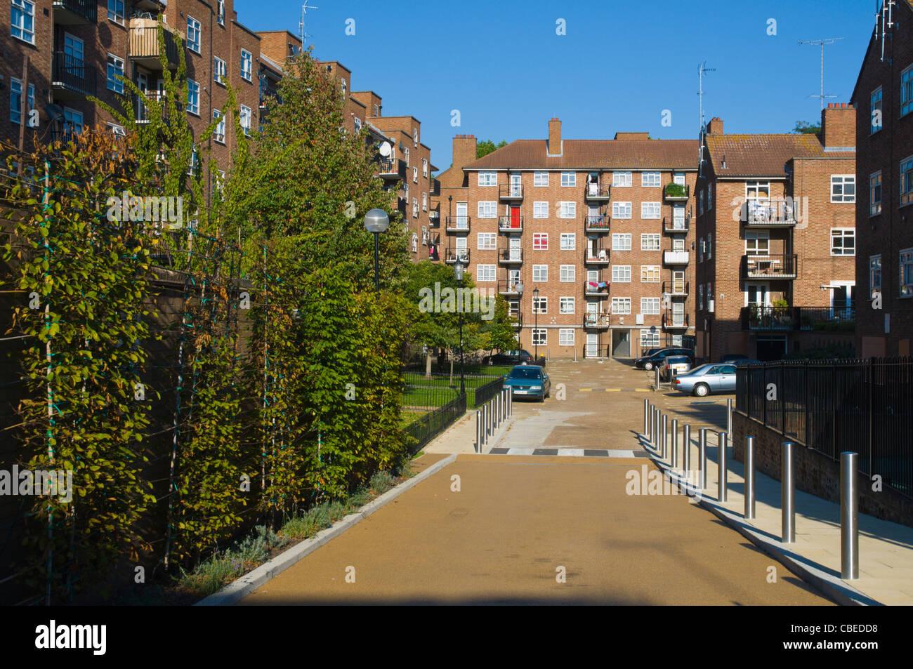 Council estate along Portobello Road street Notting Hill district North Kensington west London England UK Europe - Stock Image