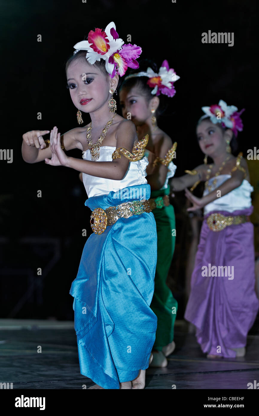 Thai children dancing and wearing full traditional costume  Thailand