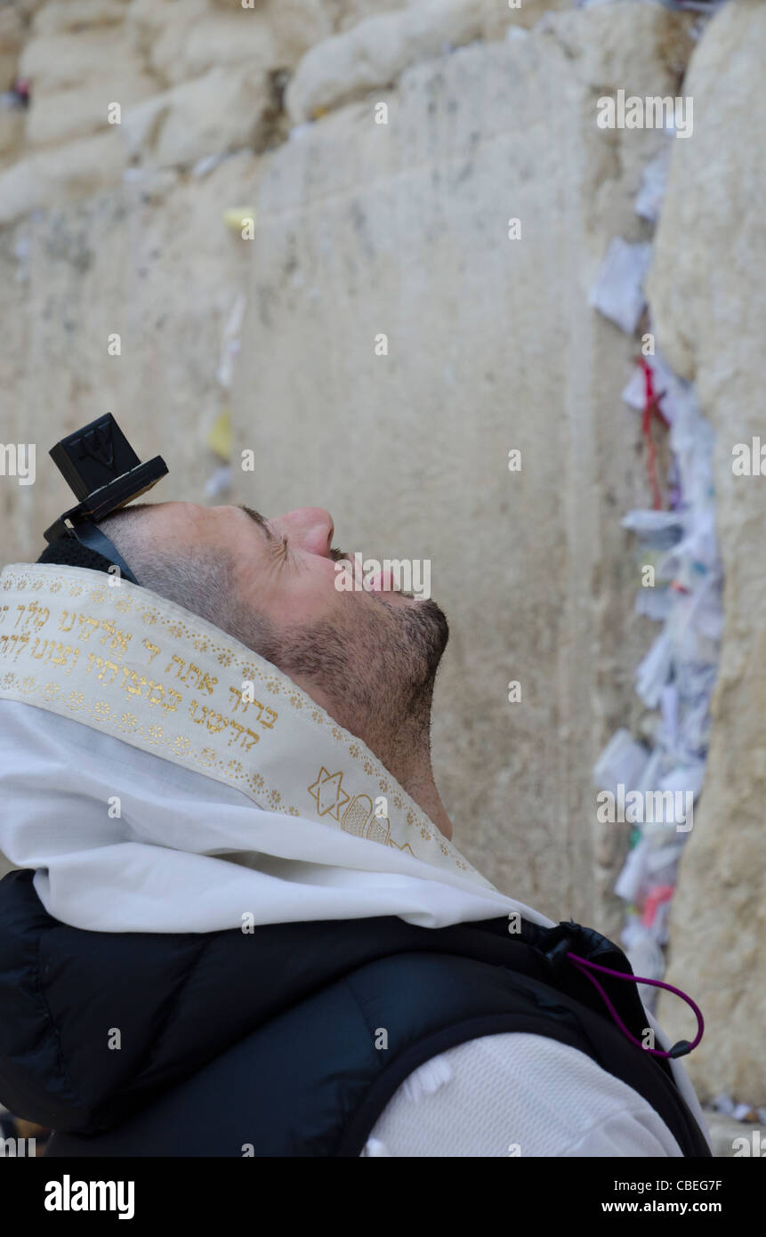 Young man praying with phylacteries and prayer shawl at the western wall. Jerusalem Old City. israel - Stock Image