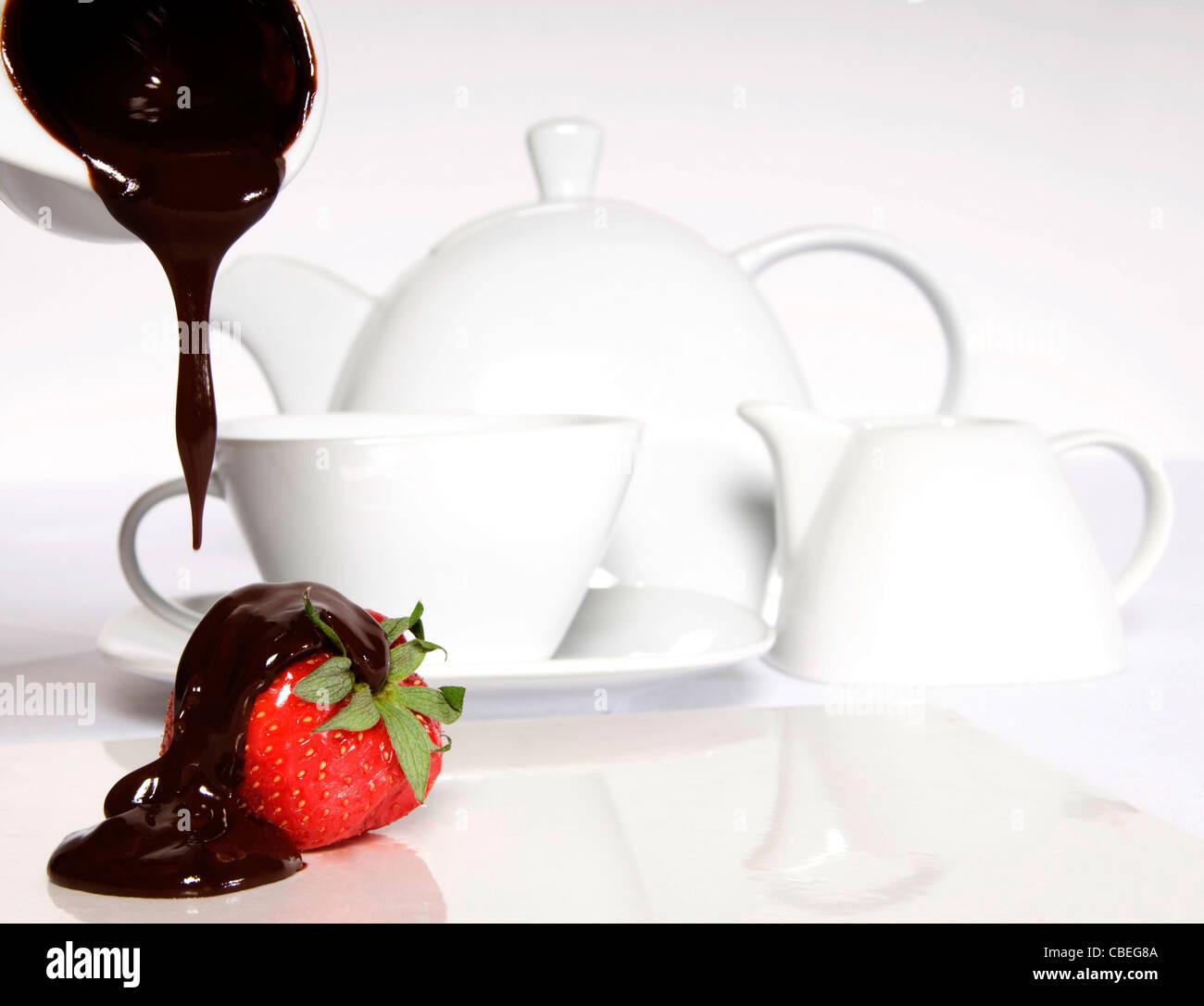 Deluxe Cream Tea Stock Photo