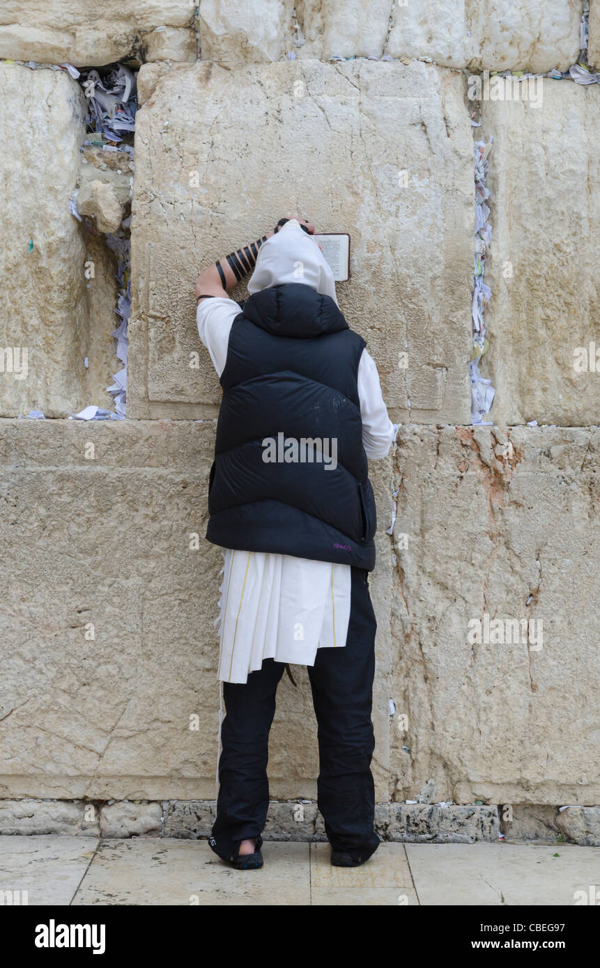 Jew praying at the Western Wall. Jerusalem Old City. israel - Stock Image