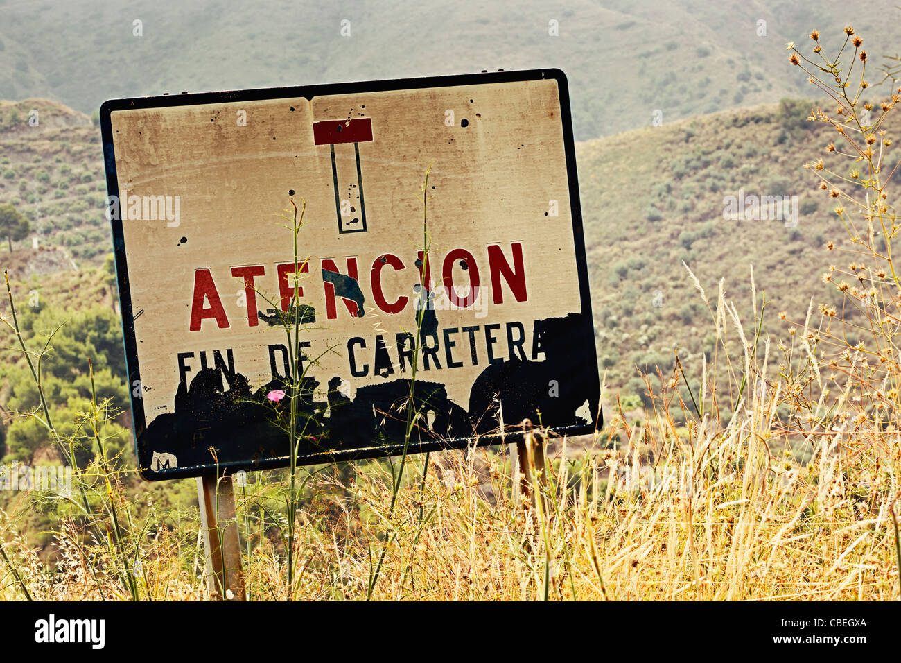 Road sign saying in Spanish, Atencion Fin de Carreterra, or Attention. End of Road.  Near Nerja, Spain. - Stock Image