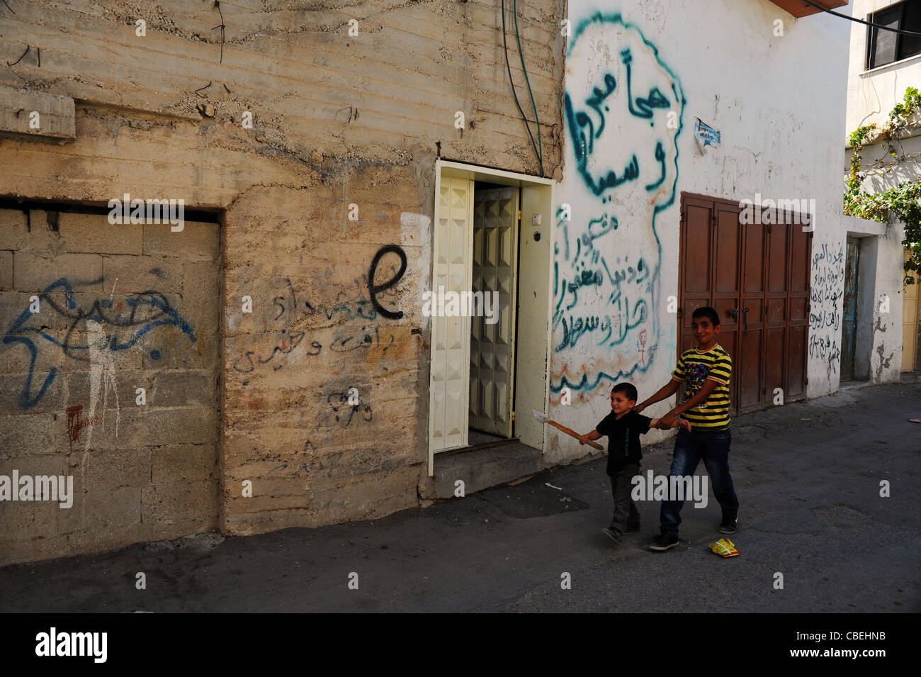 """Marking of the Israeli colonists during their violent comings in the Palestinian villages., The """"E"""" which means Stock Photo"""
