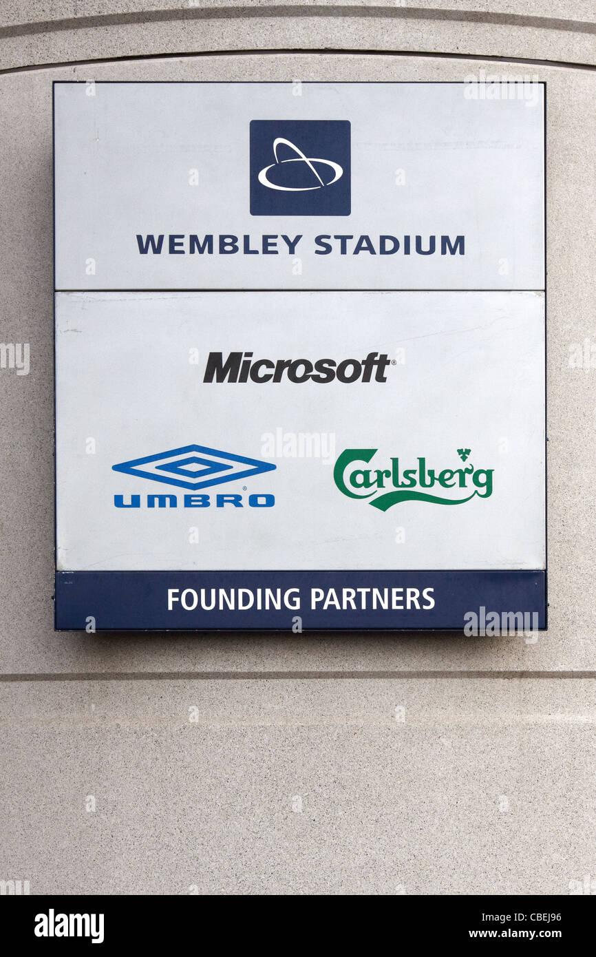 Wembley Stadium sign sponsors - Stock Image