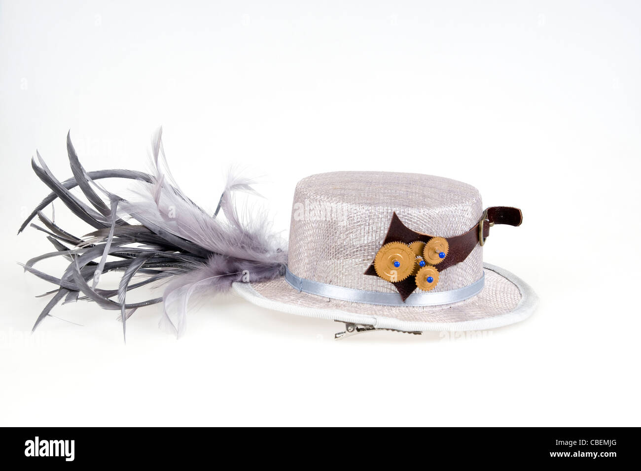 Steampunk accessories woman's hat On white Background - Stock Image