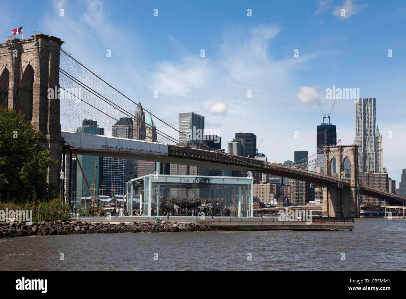 The historic Jane's Carousel in Brooklyn Bridge Park near the Brooklyn Bridge in New York City. - Stock Image