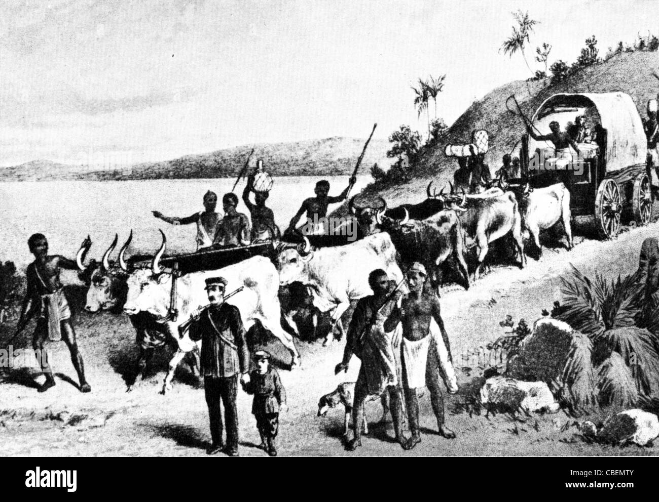 DAVID LIVINGSTONE accompanied by Oswell, discovers Lake Ngami in what is now Botswana, on 1 August 1849 - Stock Image
