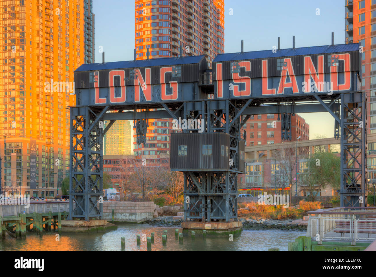 'Long Island' Gantry cranes in Gantry Plaza State Park in Long Island City, Queens, New York City. - Stock Image