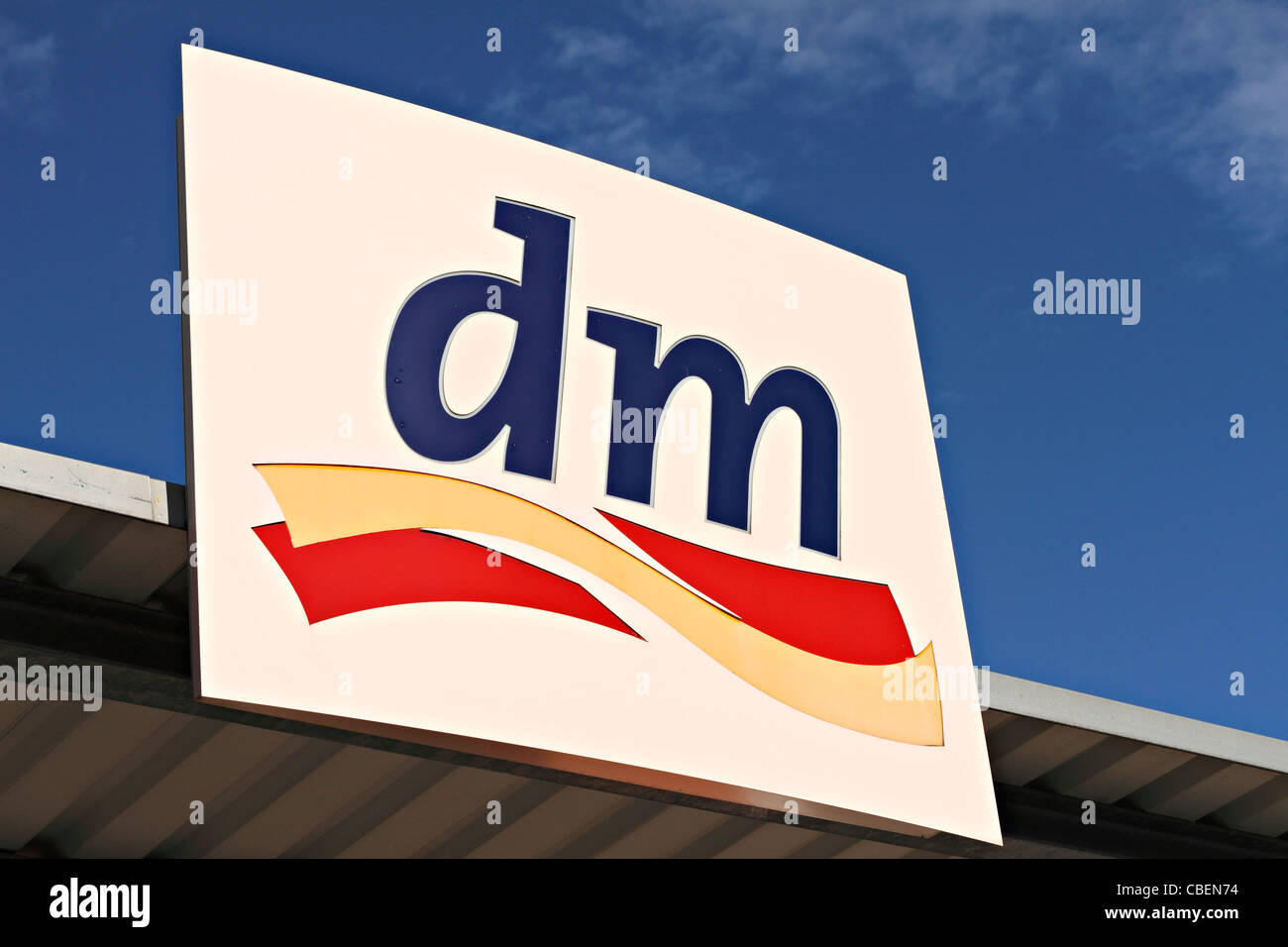 DM supermarket sign, Chiemgau Upper Bavaria Germany - Stock Image