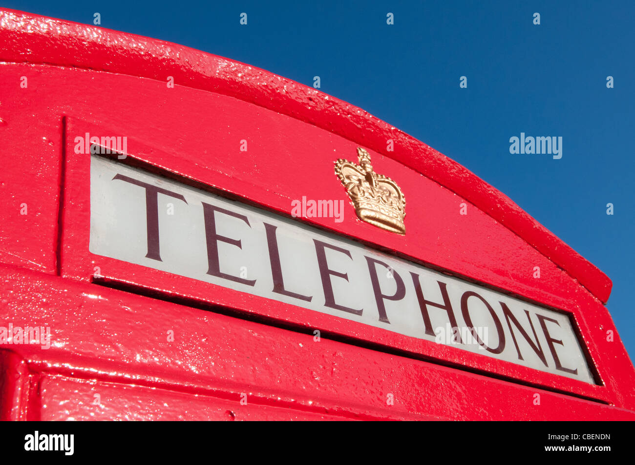 Red Telephone Box Detail and Blue Sky, London, England, UK - Stock Image