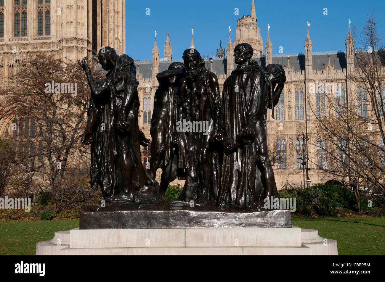 The Burghers of Calais Sculpture by Auguste Rodin, Victoria Tower Gardens, Westminster, London, England, UK - Stock Image