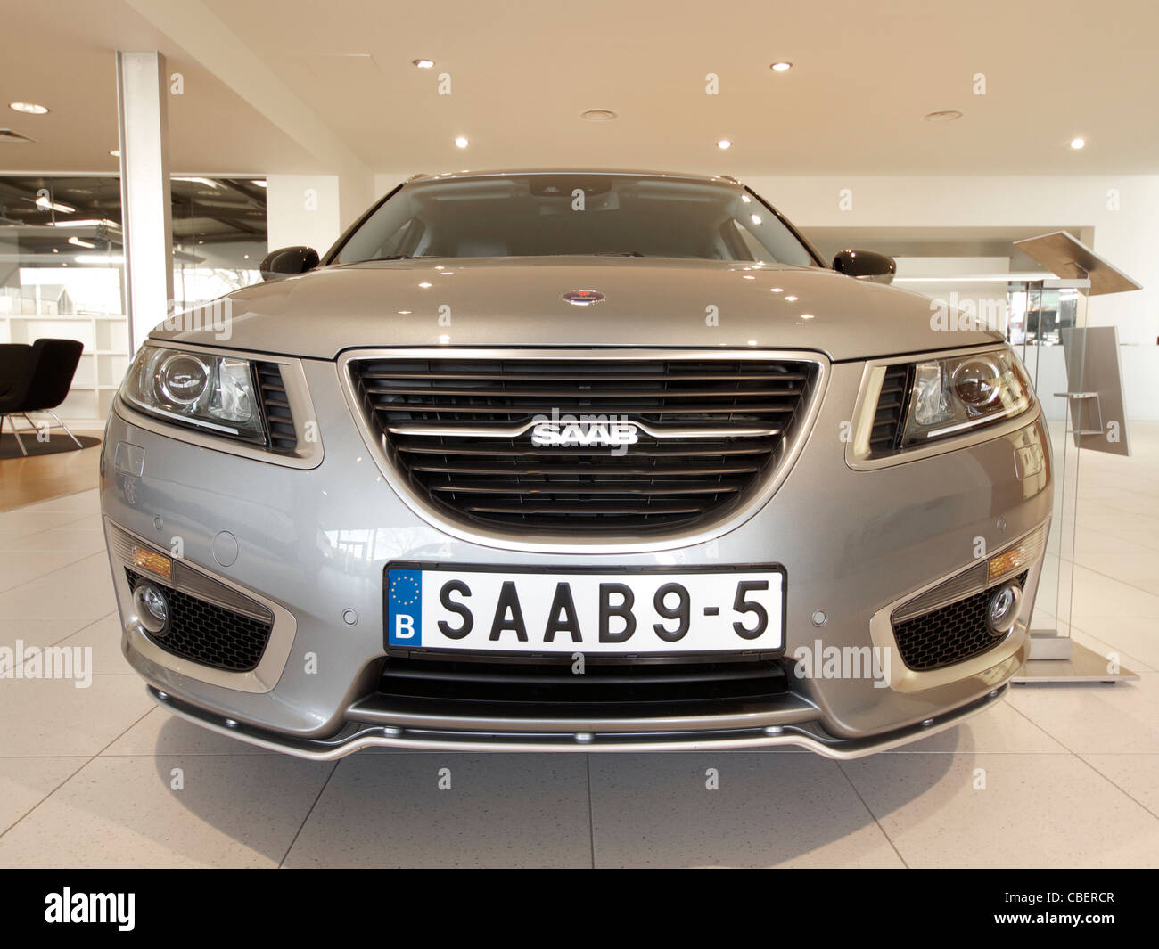 2011 Saab 9-5 front view, the latest model of the troubled car manufacturer, and possibly the last model ever. - Stock Image