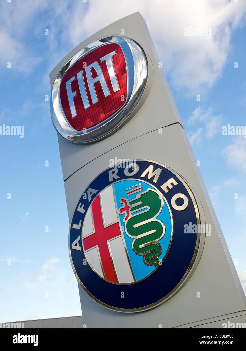 Fiat and Alfa Romeo Italian car manufacturers logo's - Stock Image