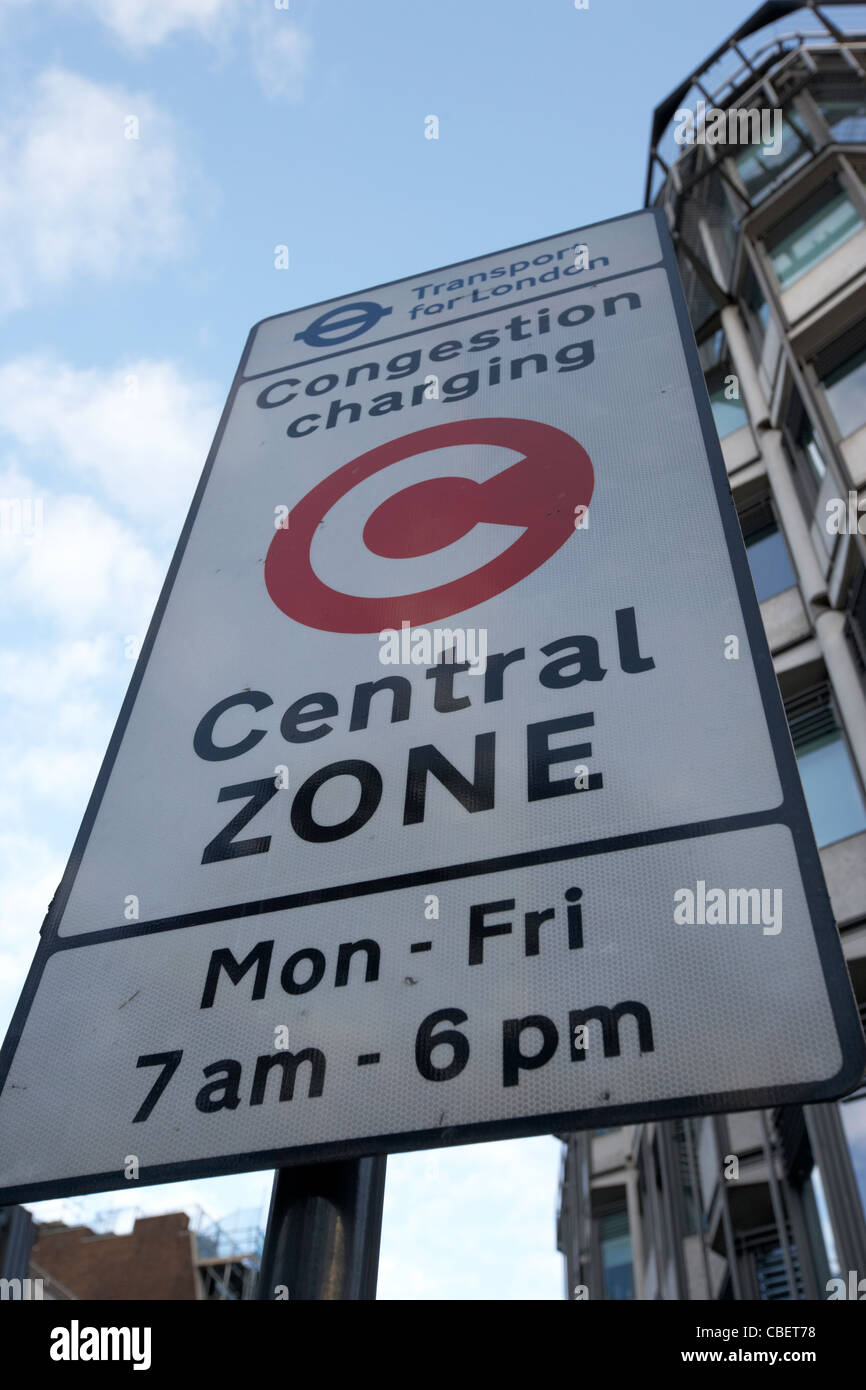 congestion charge central zone sign in central london england uk united kingdom - Stock Image