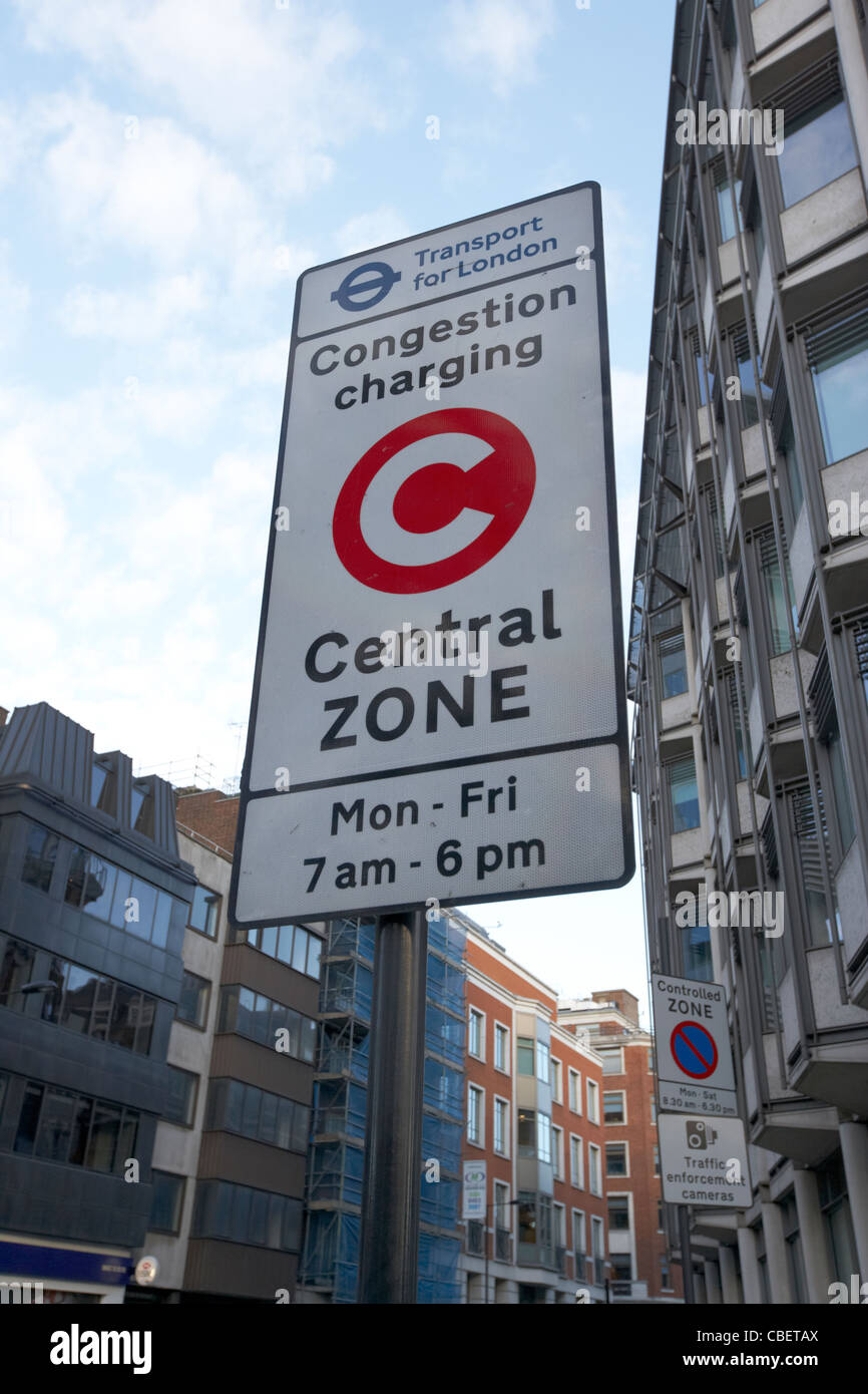 congestion charge central zone sign in central london england uk united kingdom Stock Photo