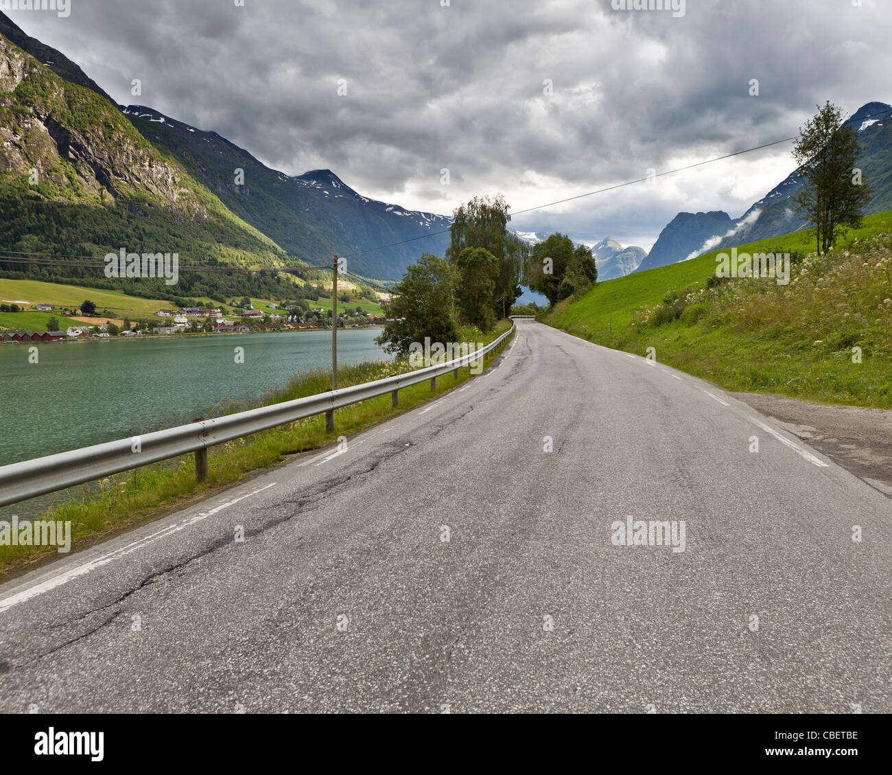 Road in summertime, Olden, Norway - Stock Image