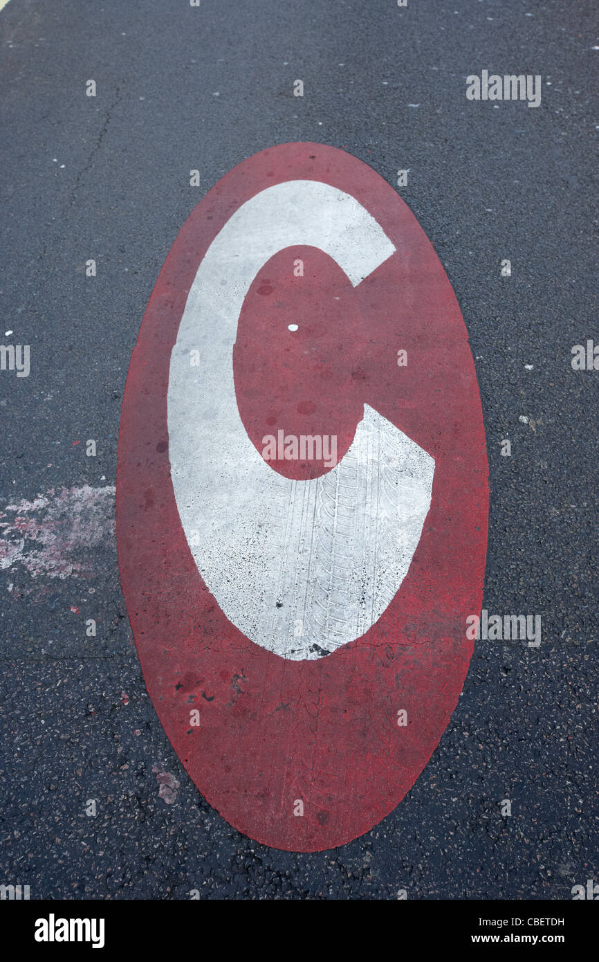 congestion charge sign on the road in central london england uk united kingdom - Stock Image