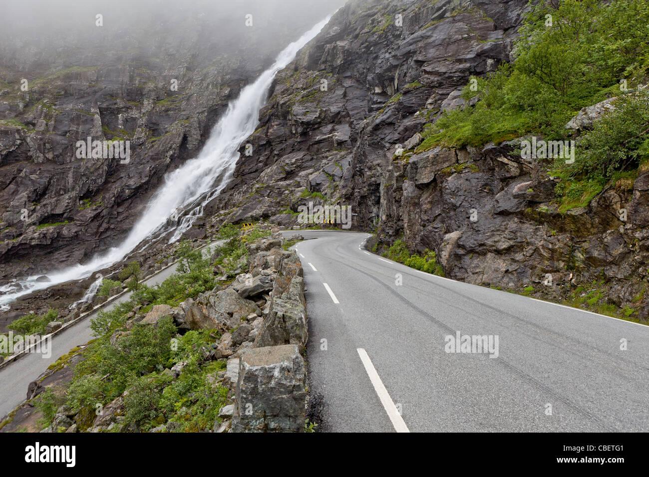 Road in summertime,Trollstigen, Norway - Stock Image