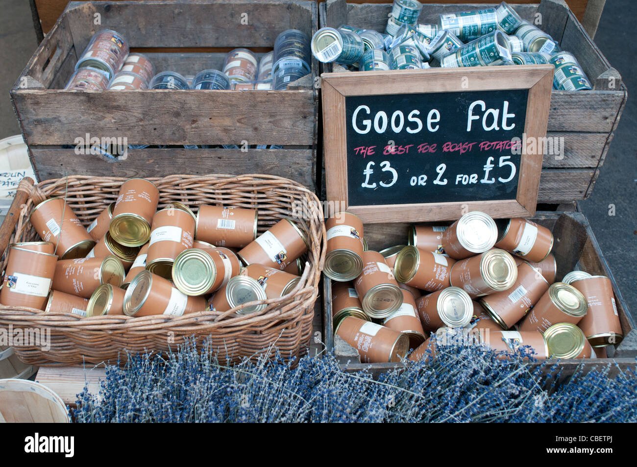 Tins of Goose Fat for Sale, Borough Market, Southwark, London, England, UK - Stock Image