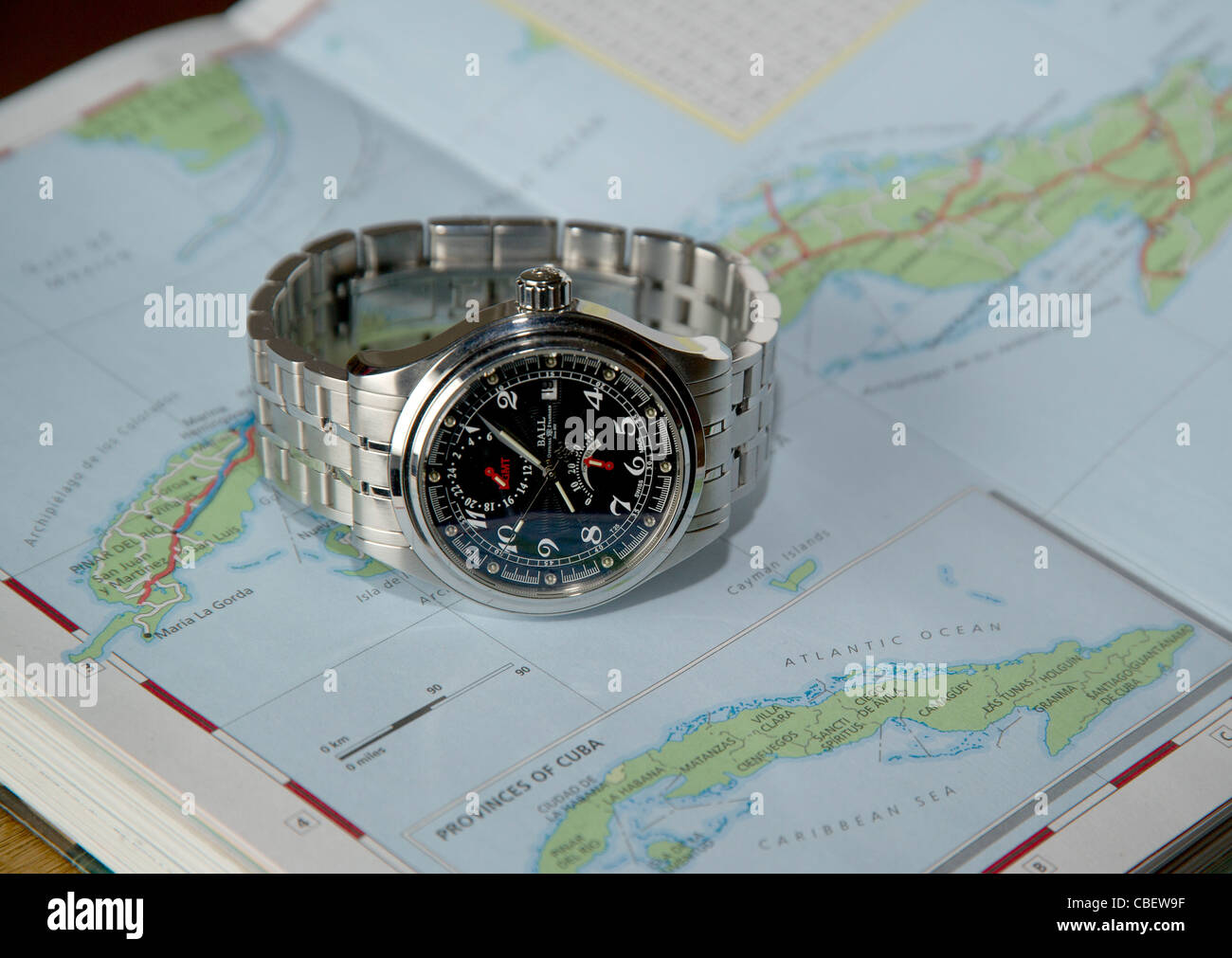 Ball Trainmaster Voyager GMT mechanical travellers wristwatch, Ball Watch Company. One of 333 built - Stock Image