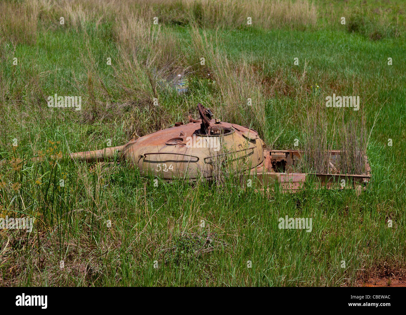 Tank Wreck from Civil War In Lubango, Angola - Stock Image