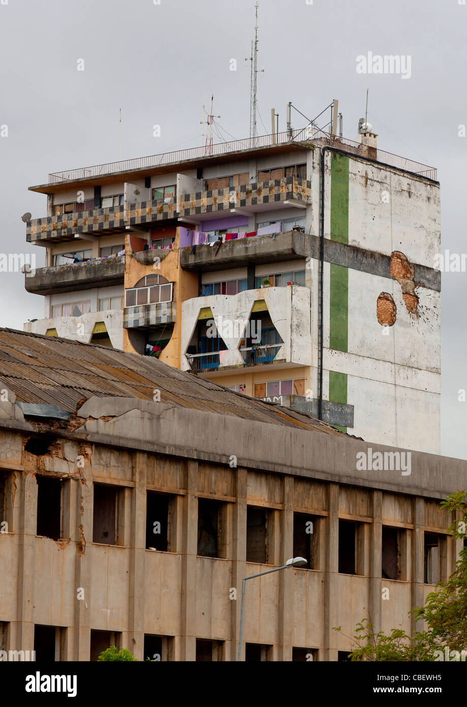 Dilapidated Buildings In Huambo, Angola - Stock Image