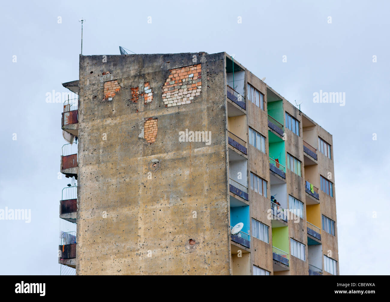 Bullet Impacts On A Building Facade In Huambo, Angola - Stock Image