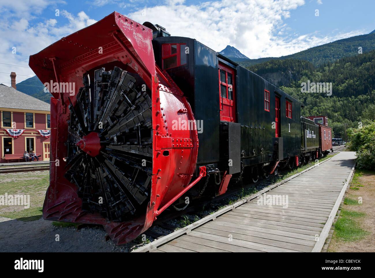 Rotary snowplow locomotive. Skagway. Alaska. USA - Stock Image
