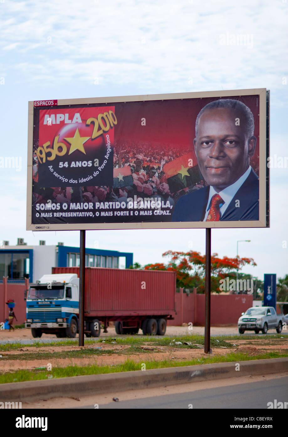MPLA Campaign Billboard, Luanda, Angola - Stock Image