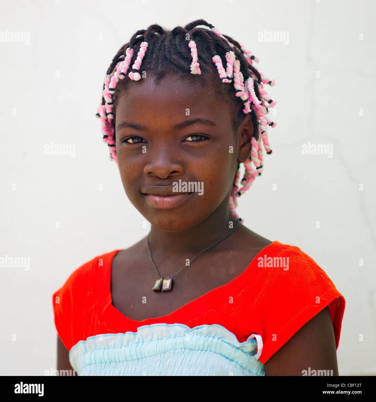 Girl With Plaits, Angola - Stock Image