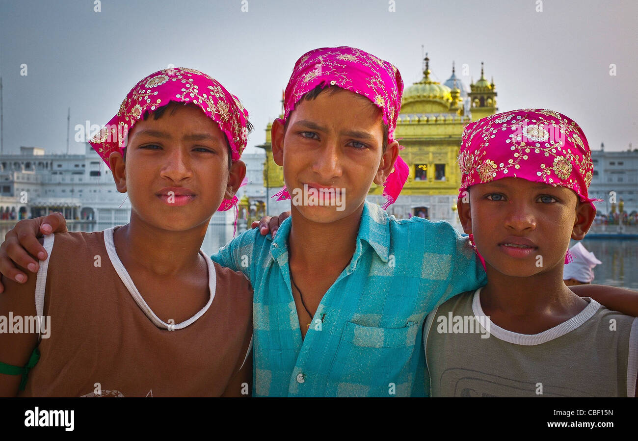 Turban people of India Visiting the Sikhs at the Golden Temple in Amritsar in northern India Glance of Indian , Stock Photo